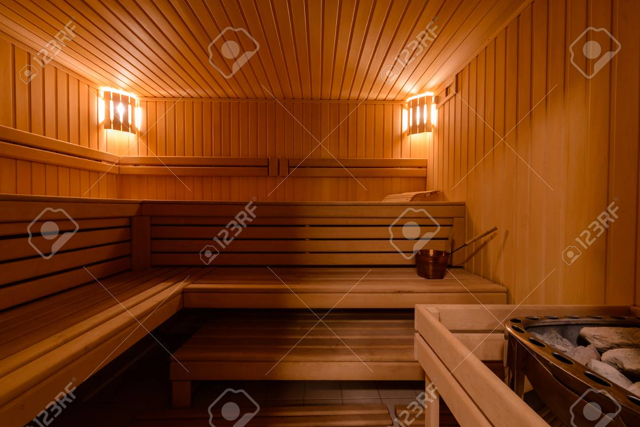 Sauna Room Interior As Background Spa Room Relax In A Hot Sauna
