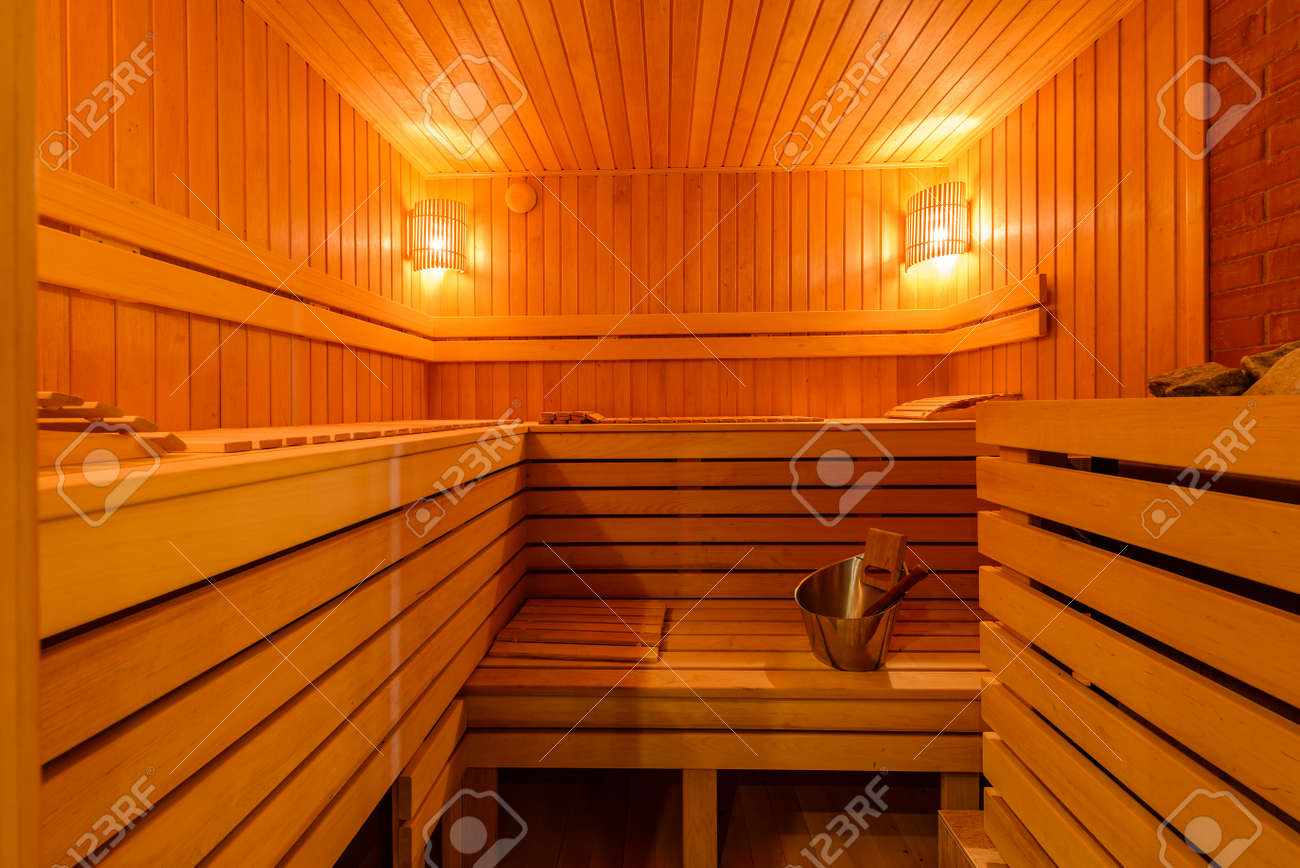 Small Home Finnish Wooden Sauna Spa Room Relax In A Hot Sauna