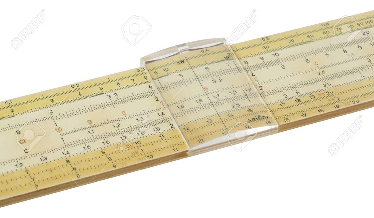 Old slideruler isolated on white Stock Photo - 16310227