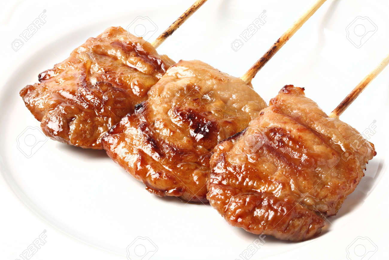 Thai style pork barbecue on white dish Stock Photo - 16723574