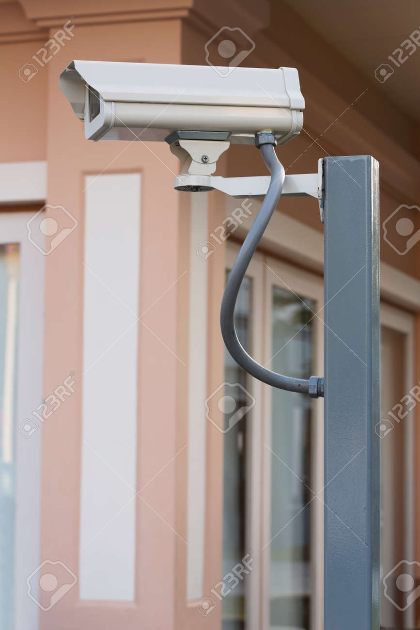 White CCTV camera watching for security 24 hours Stock Photo - 17568335