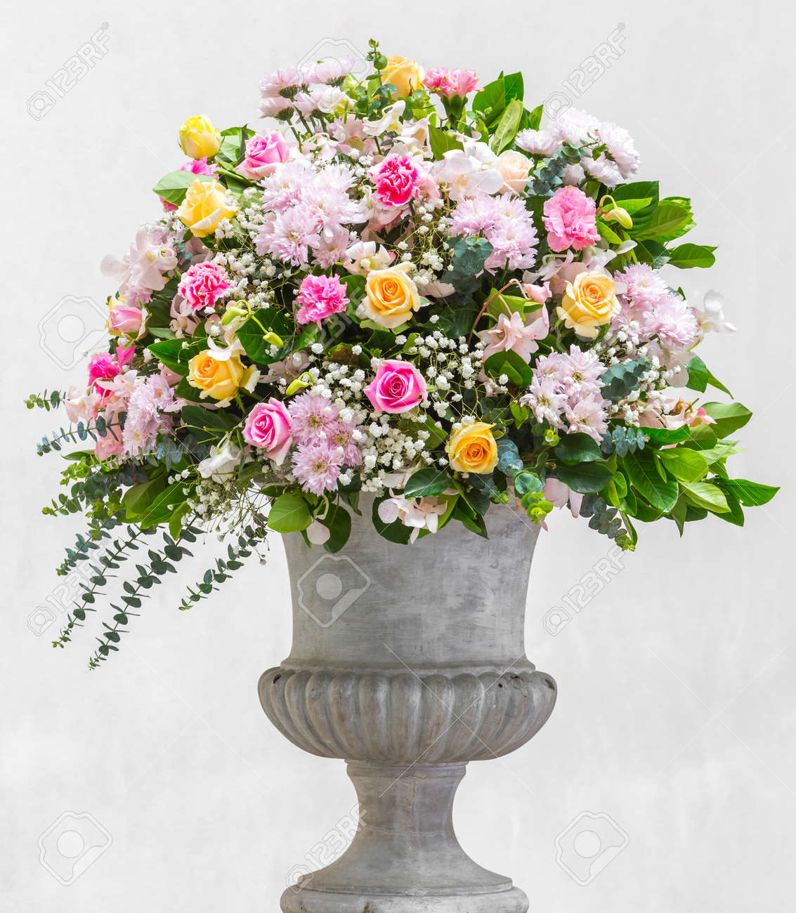 Flower Bouquet Decoration In Grunge Concrete Vase Stock Photo