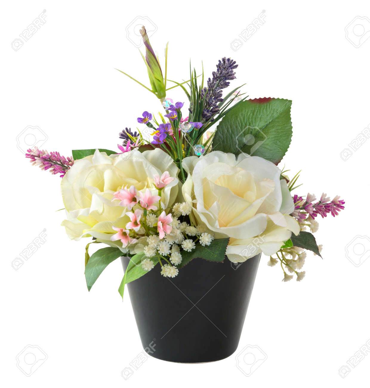 Bouquet of rose in black pot isolated on white artificial flower bouquet of rose in black pot isolated on white artificial flower stock photo 20630577 mightylinksfo