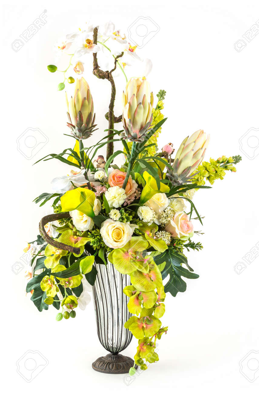 Bouquet of orchid rose and calla lily flower in glass vase bouquet of orchid rose and calla lily flower in glass vase isolated on white stock reviewsmspy