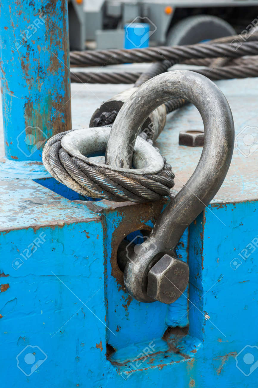 Close Up Heavy Duty Bolt Anchor Shackle And Wire Rope Sling On ...