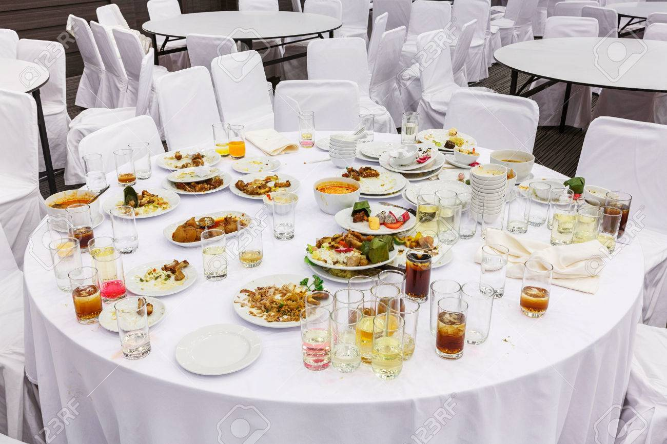Waste Food On Round Table After Dinner In Party Room Stock Photo Picture And Royalty Free Image Image 23995186