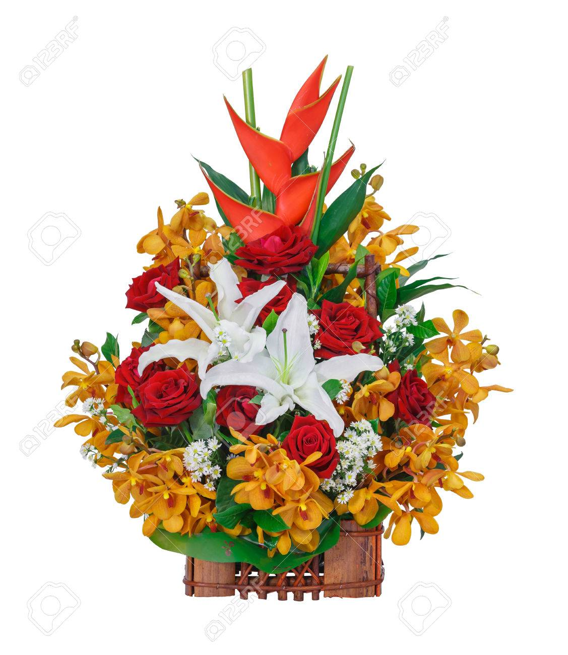 Close Up Rose Orchid Lily And Bird Of Paradise Flower Bouquet ...