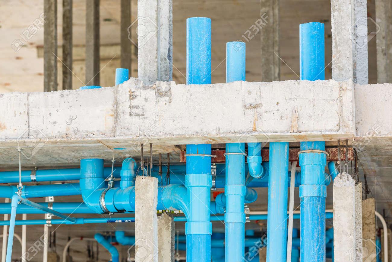 Close Up Sanitarinstallation Verteilungssystem Im Neubau Lizenzfreie