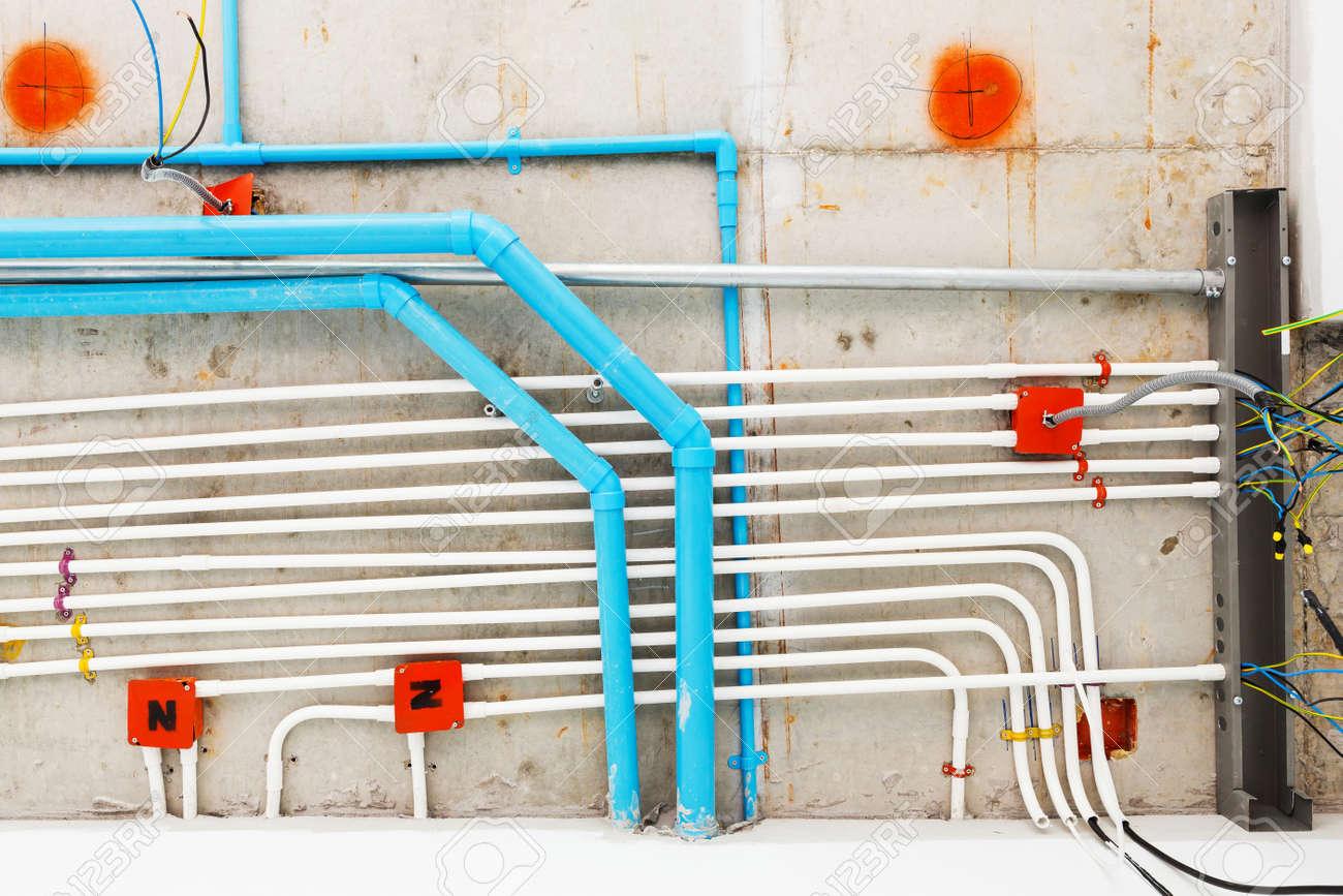 Close Up Elektro Und Sanitarinstallation Verteilungssystem Im