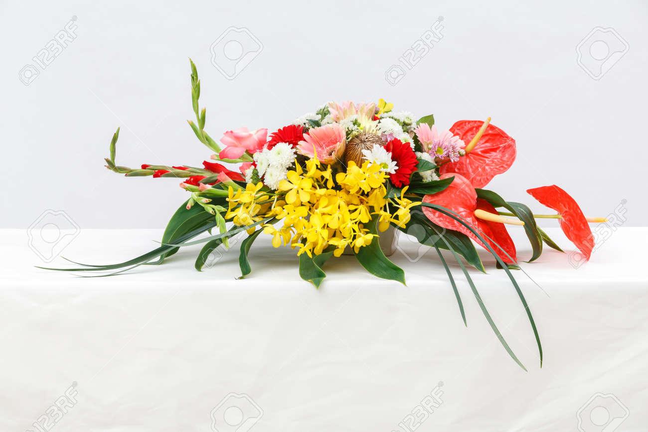 Close Up Flower Bouquet On Table, Vanda, Gerbera, Chrysanthemum ...