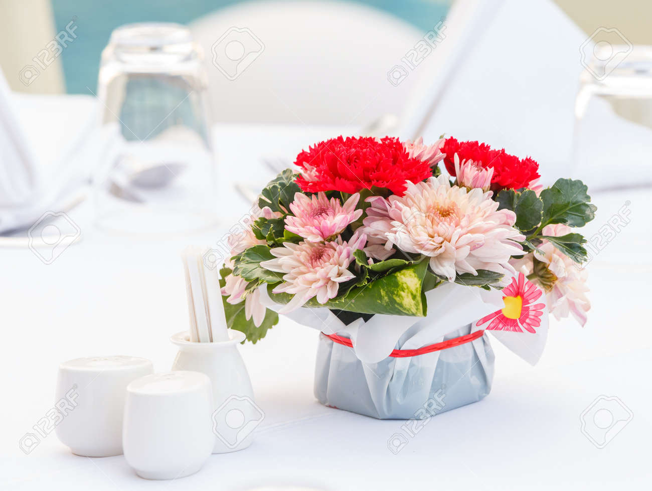 Close Up Chrysanthemum And Carnation Flower Bouquet And Polyscias ...