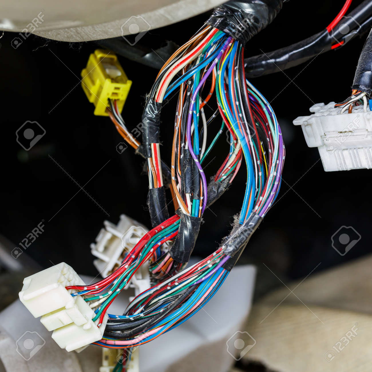 Amazing Close Up Old And Dirty Car Automotive Wiring Multi Color Wire Wiring 101 Photwellnesstrialsorg