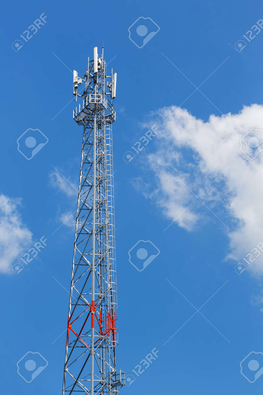 Antenna Repeater Tower On Blue Sky, Wireless Telecommunication ...