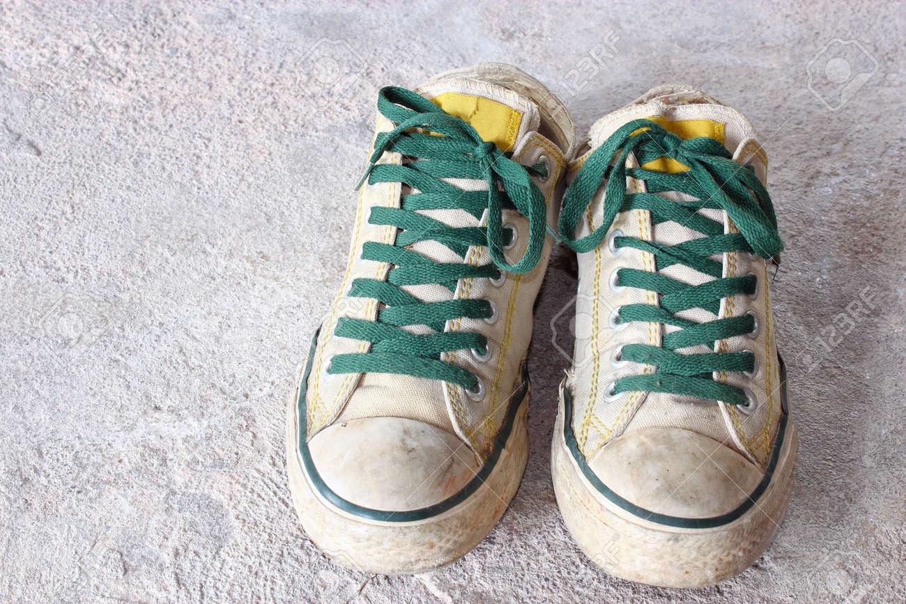 white shoes on concrete background Stock Photo - 13453985
