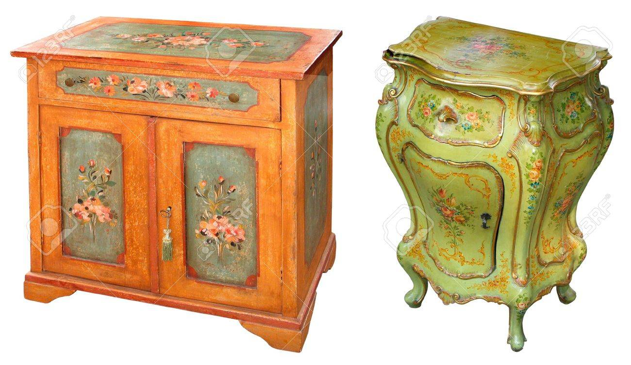Antique Hand Painted Wooden Cabinets Stock Photo   13956086