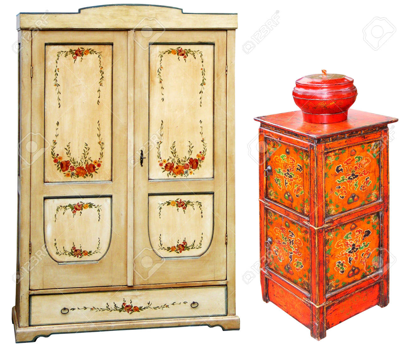 Antique Hand Painted Wooden Cabinets Stock Photo   13956084