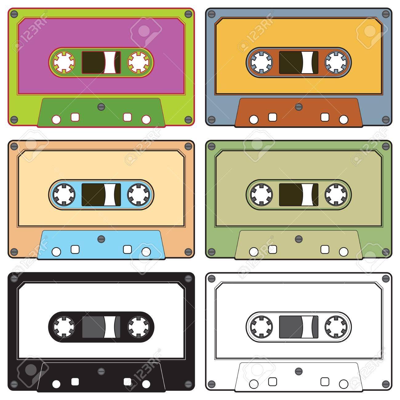 カラフルなラジオ カセット テープのリアルなイラストのイラスト素材