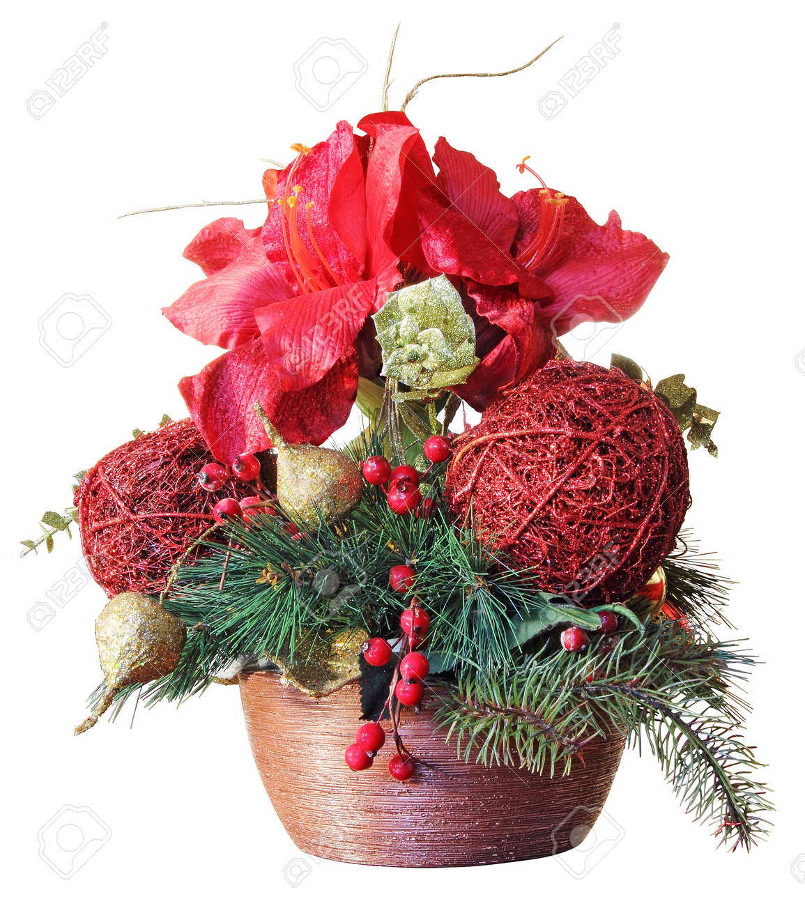 Christmas Flower Arrangements Images.Beautiful Christmas Flower Arrangement Isolated On White Background