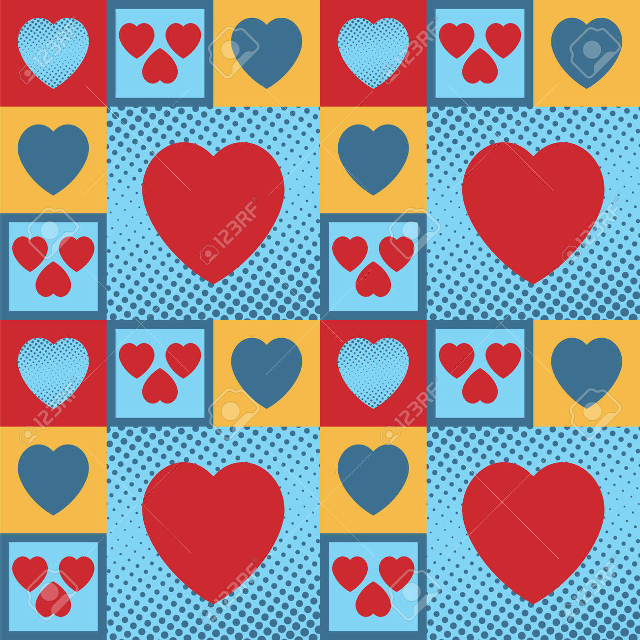 Multicolour vintage hearts as a seamless pattern and background Stock Vector - 17534774
