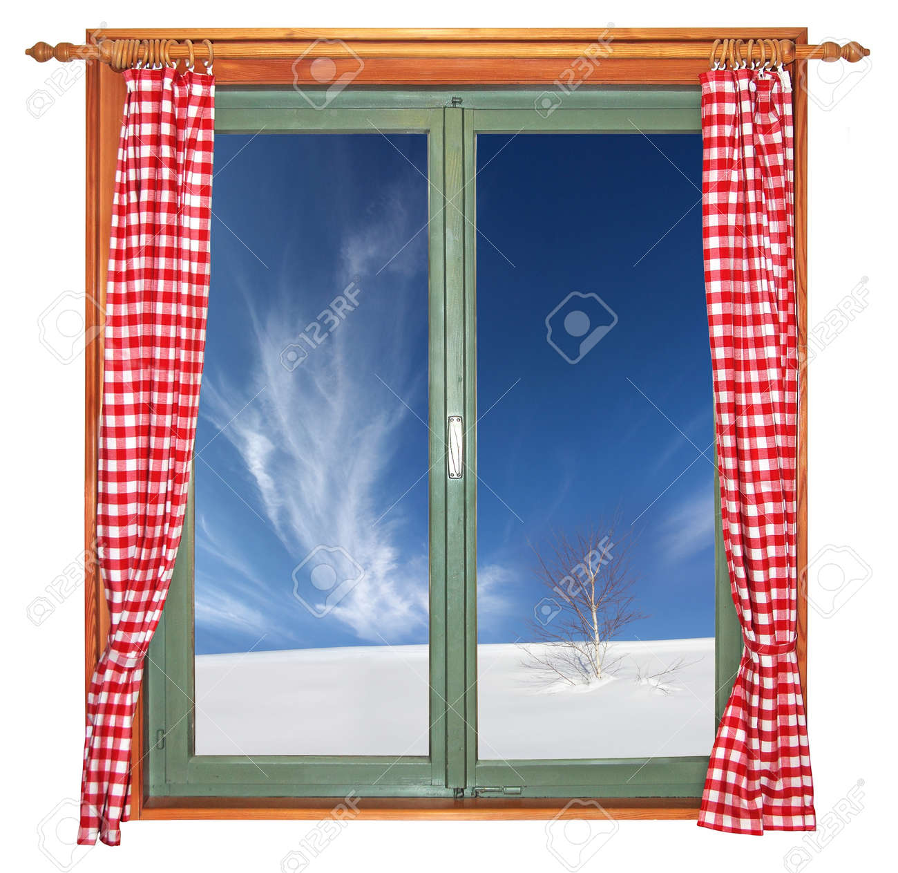 Green wooden window with a view a tree in the snow, isolated on white background Stock Photo - 17670373