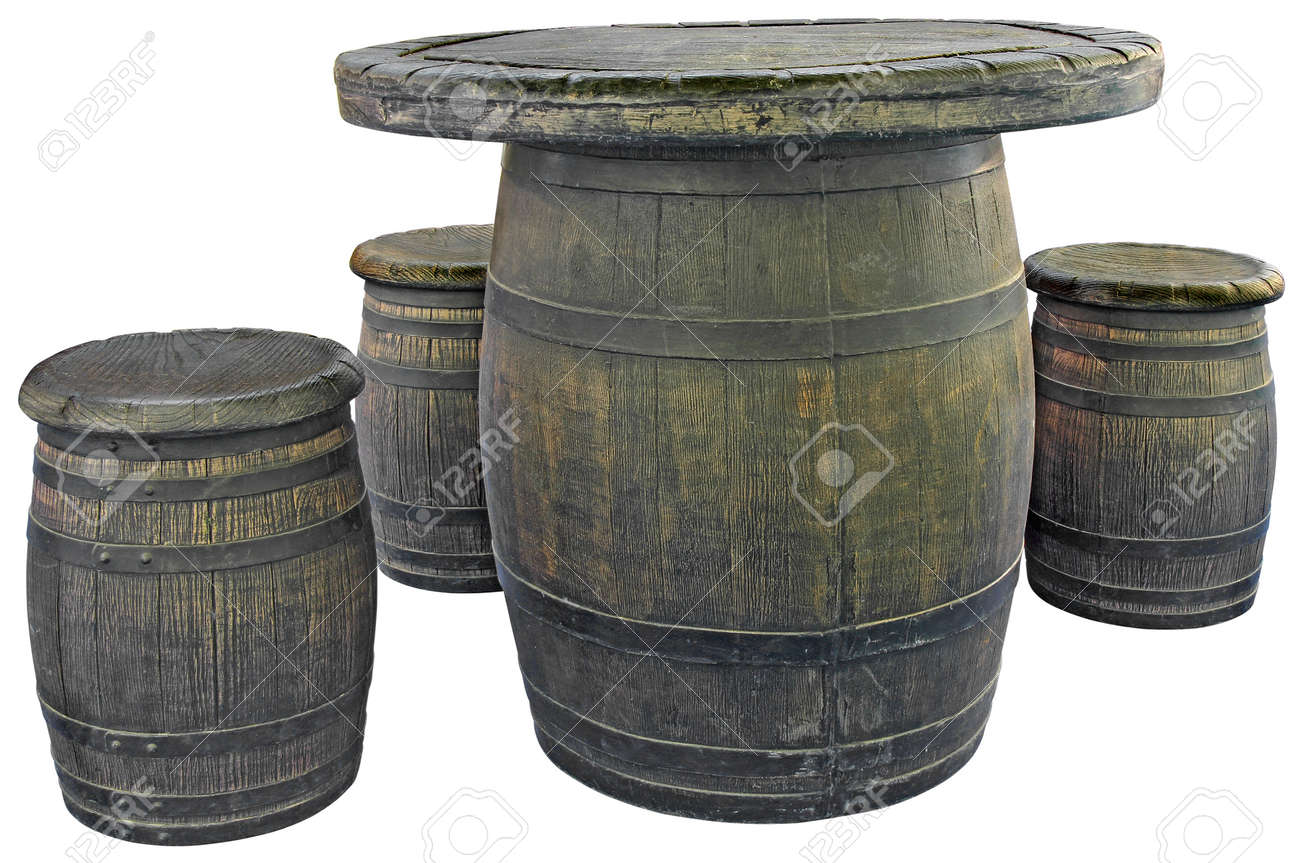 Old wooden barrels used as tables and chairs Stock Photo - 22926812  sc 1 st  123RF.com & Old Wooden Barrels Used As Tables And Chairs Stock Photo Picture ...