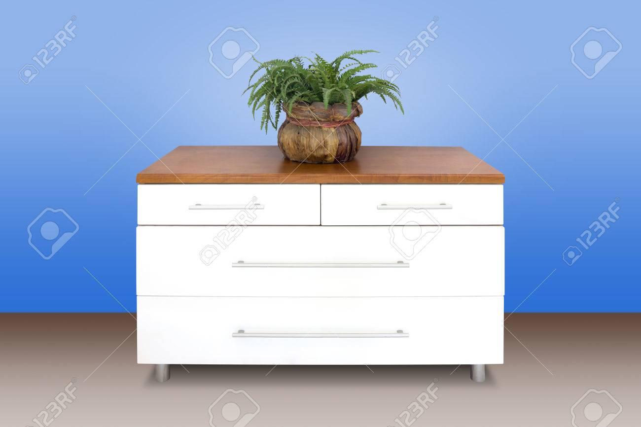 Moderne Weisse Kommode Aus Holz Blauen Wand Hintergrund Lizenzfreie
