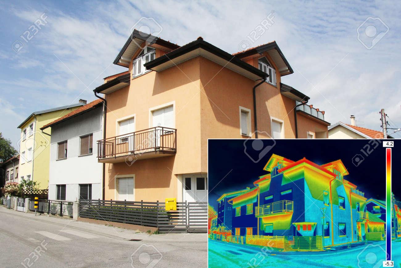 Infrarot-Thermovision Bild Zeigt Fehlende Wärmedämmung Am Haus ...