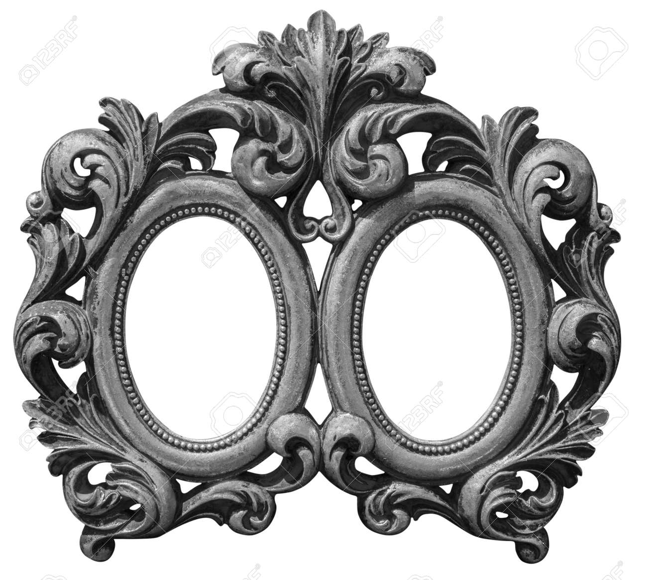 Old Double Silver Plated Wooden Frame Isolated With Clipping.. Stock ...