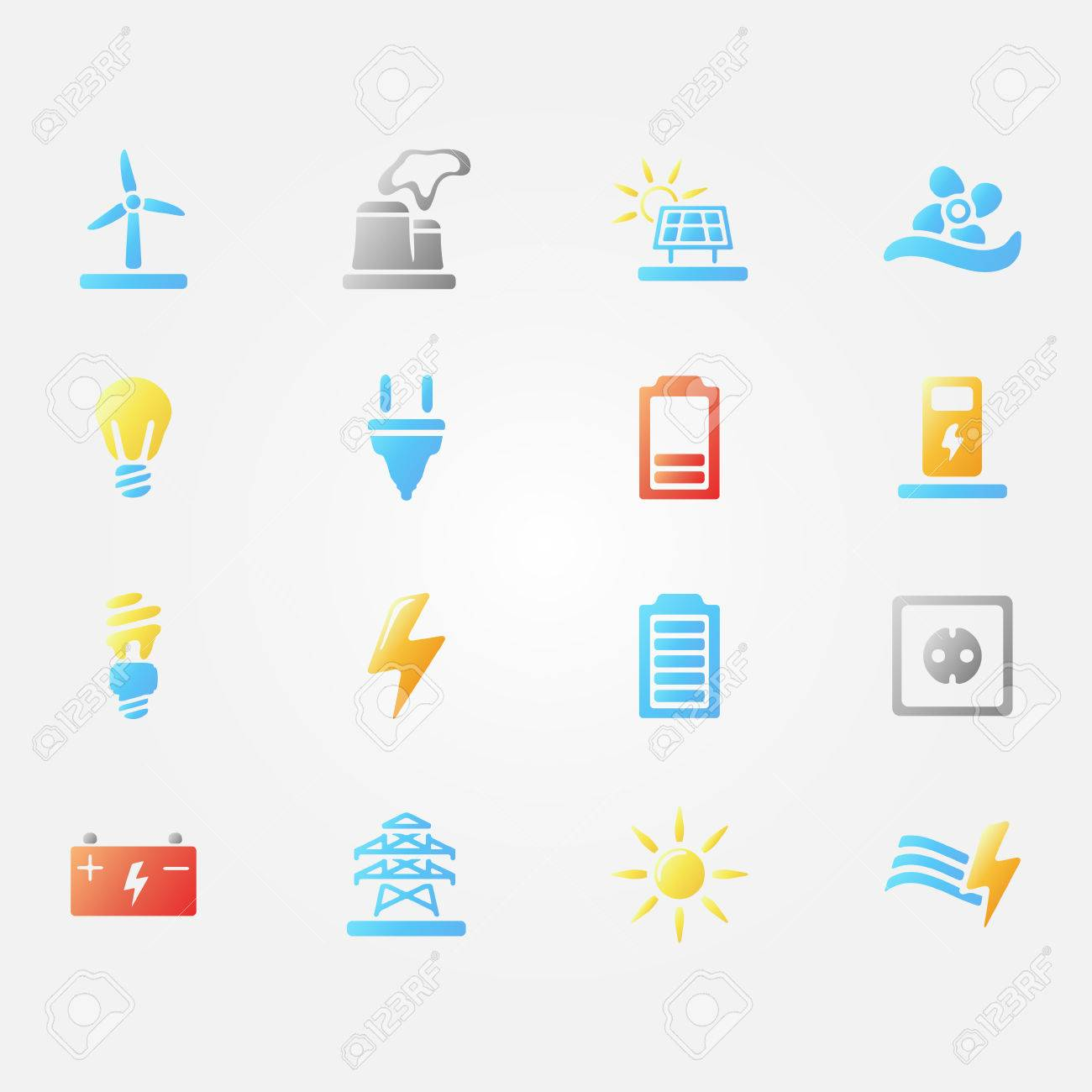 Bright vector energy icons set of simple electricity symbols bright vector energy icons set of simple electricity symbols water energy wind and biocorpaavc
