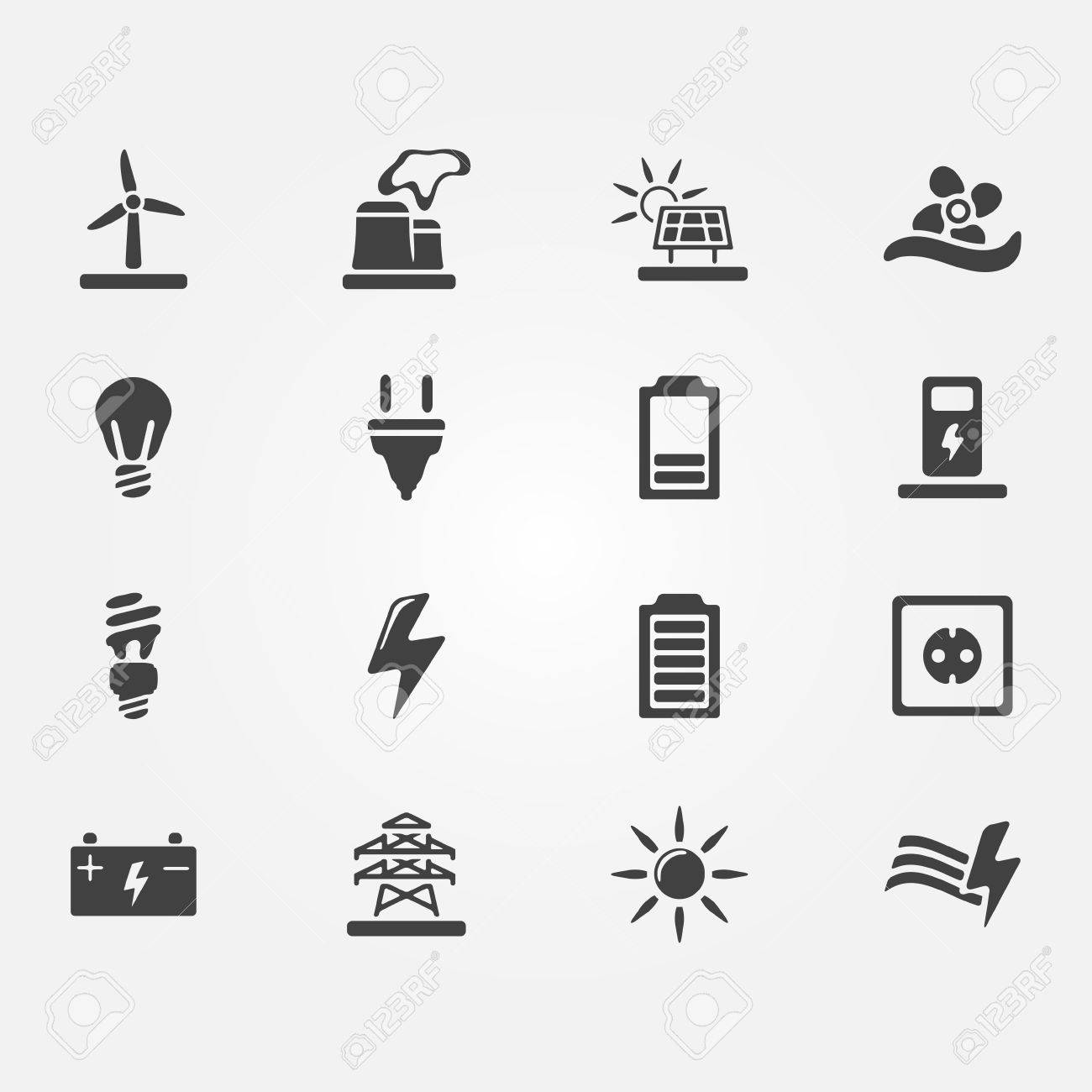 Vector Energy Icons - Set Of Simple Electricity Symbols Royalty Free ...