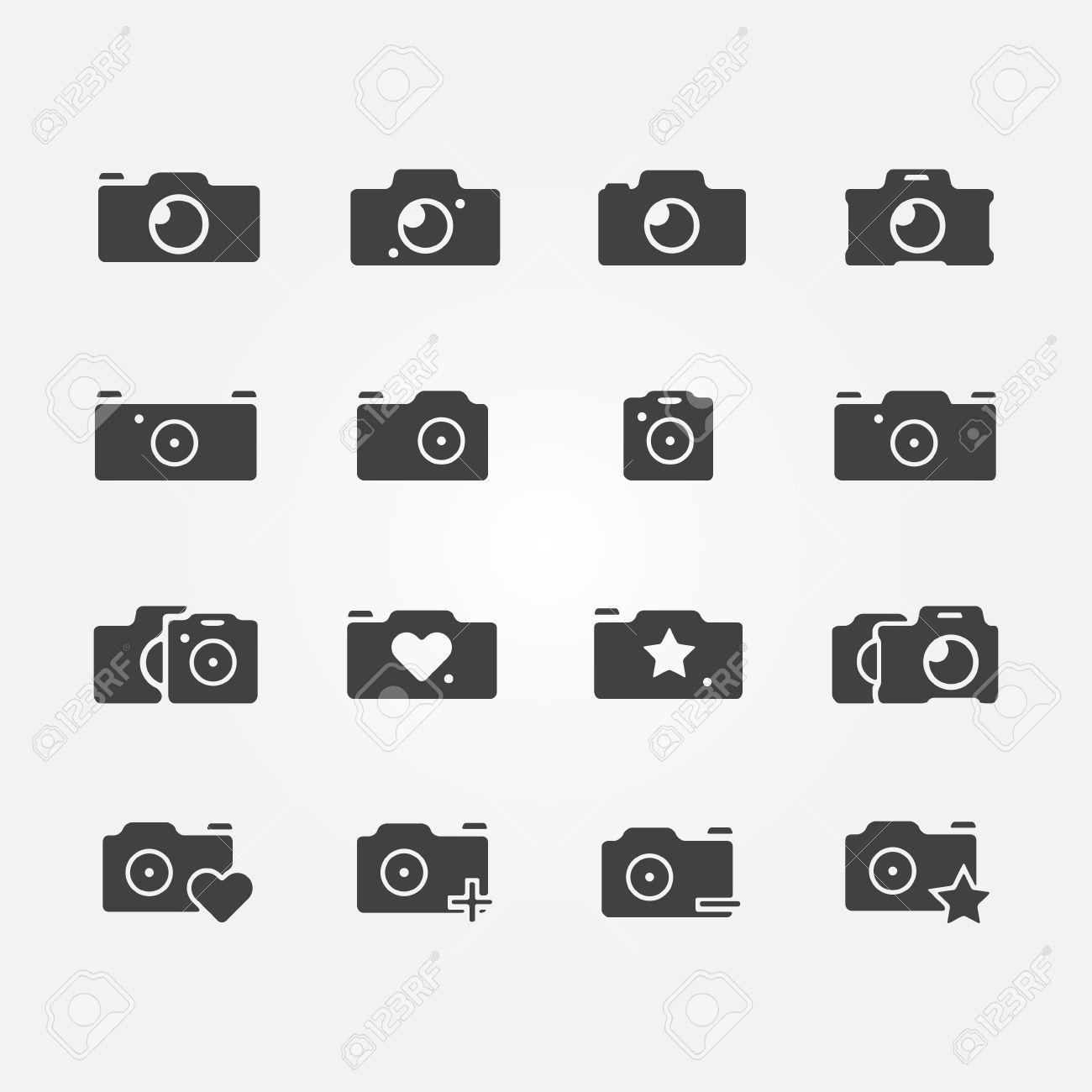 Camera Icons Set Black Vector Camera Symbols Royalty Free Cliparts