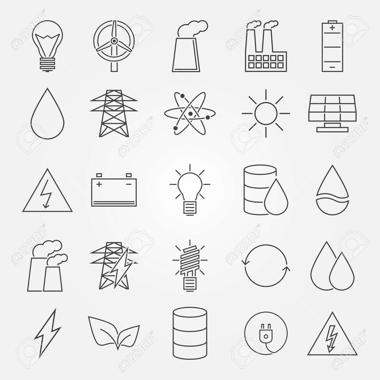 Energy and industrial icon set vector thin line symbols of energy and industrial icon set vector thin line symbols of power or renewable energy technologies biocorpaavc Gallery