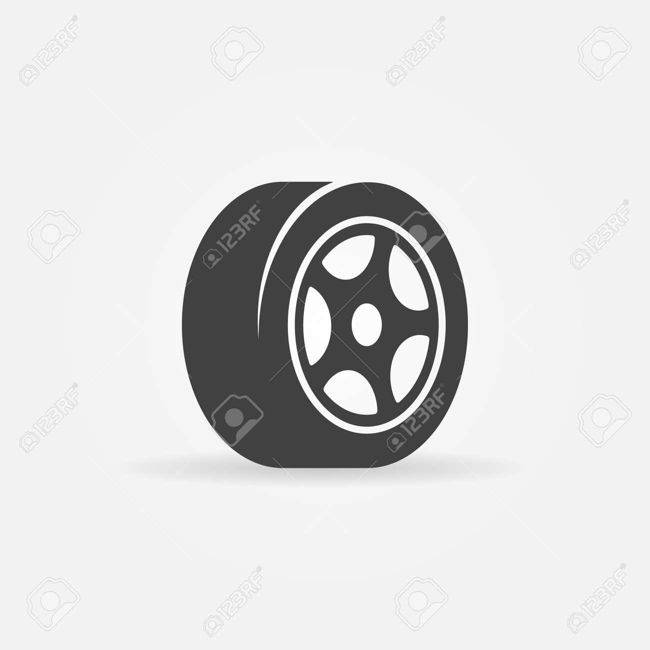 Vector tyre symbol or icon - black car tire logo - 38545749