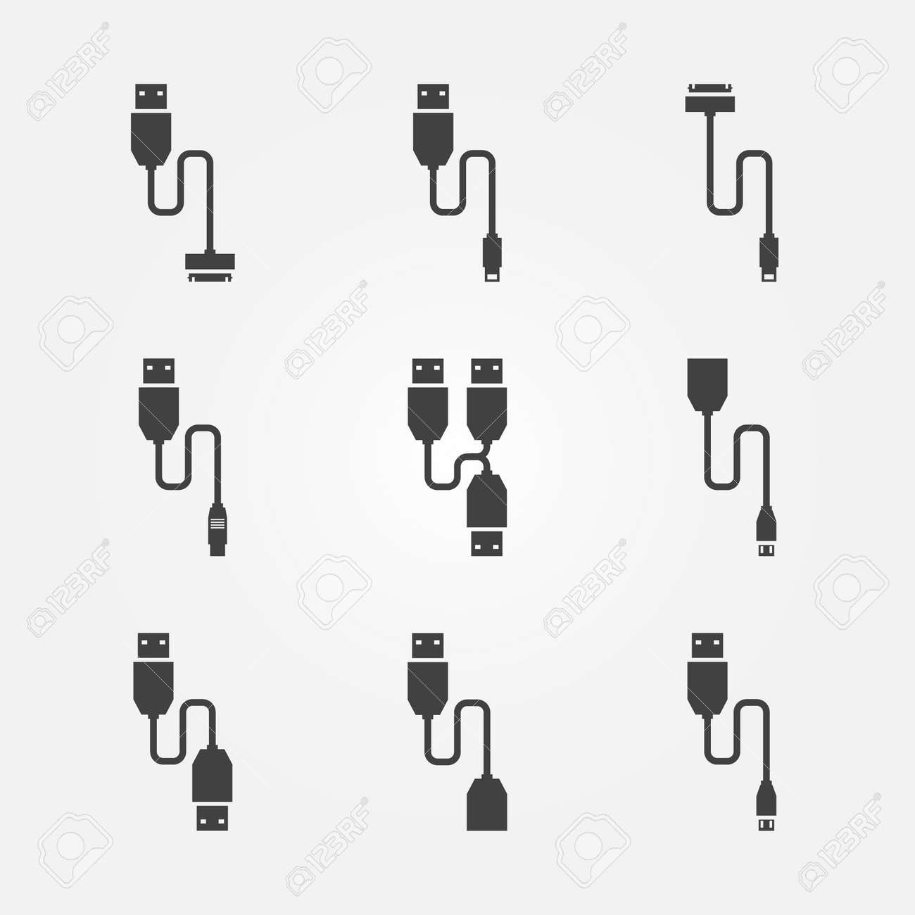 Usb cables icons vector black wire computer symbols royalty free usb cables icons vector black wire computer symbols stock vector 38675168 biocorpaavc Images