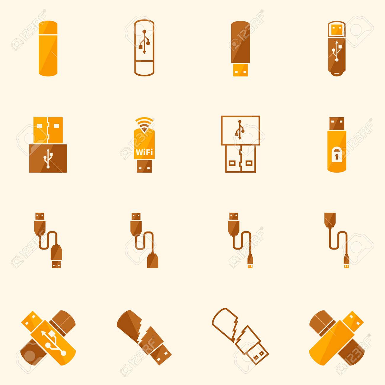 Usb Icons Flat Yellow Set Vector Usb Flash Otg And Micro Cable