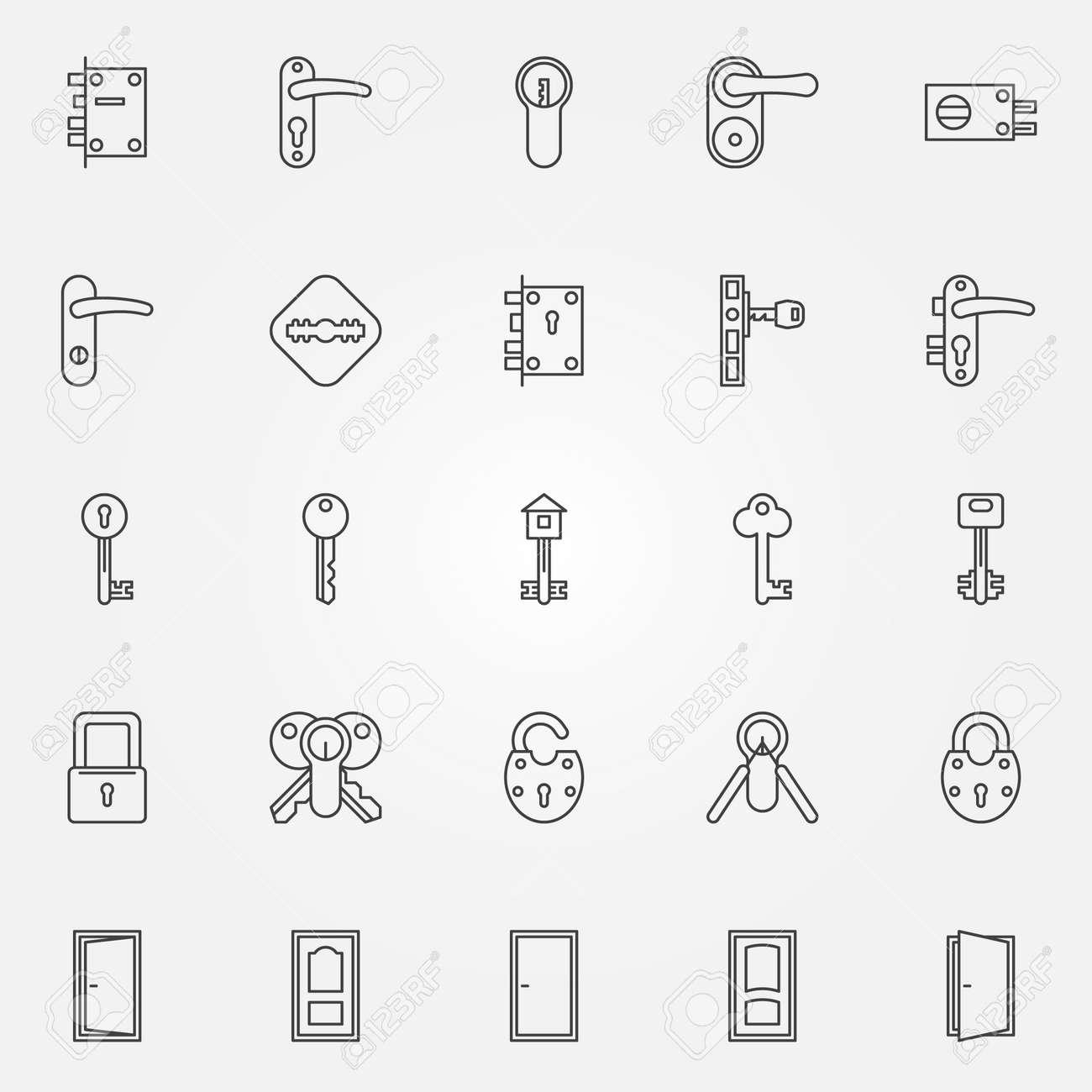 Door Lock Icons Vector Set Of Door Keys Lock Symbols In Thin