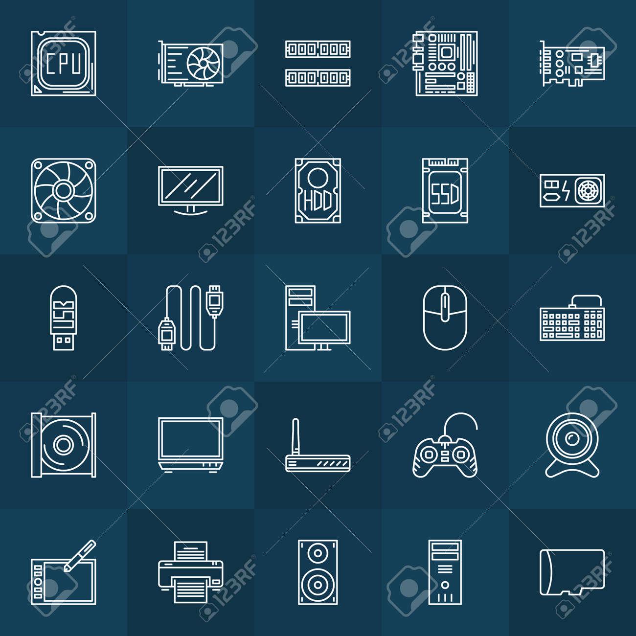 Computer-Komponenten-Symbole - Vektor Satz Von Hardware-Symbole Oder ...