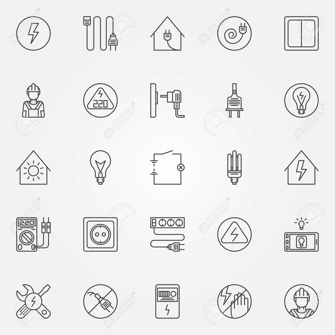 Electricity Icons - Vector Set Of Home Electricity Symbols In ...