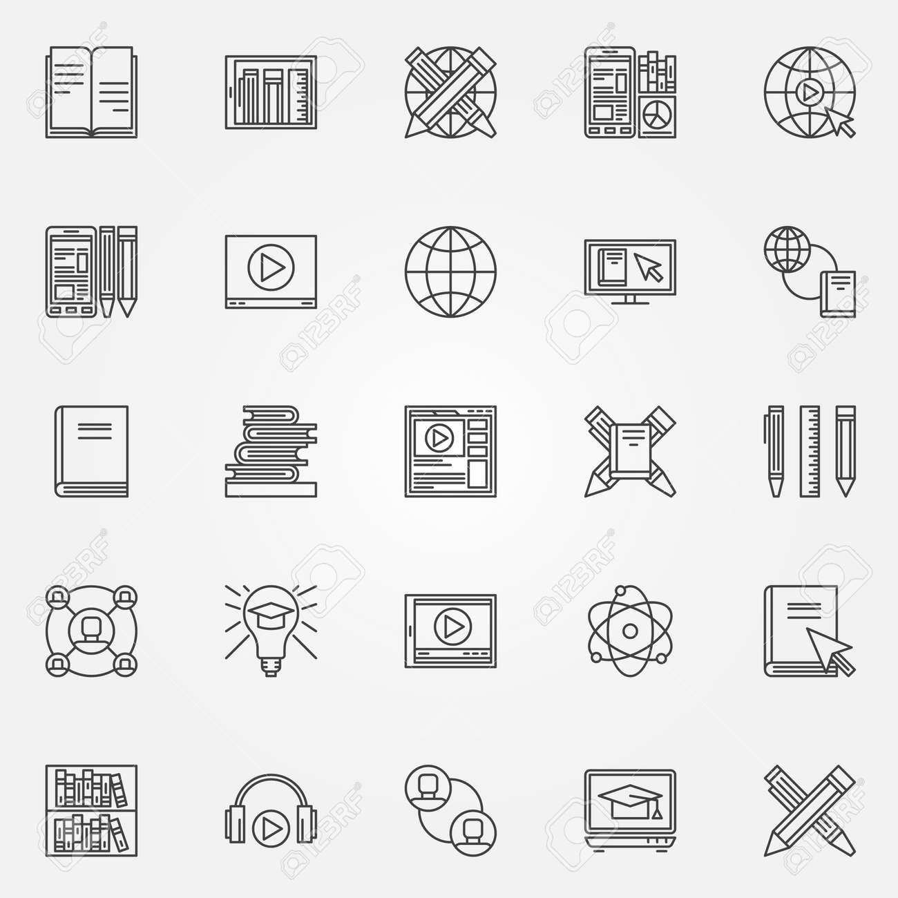 Online Education Icons Set Vector Collection Of Thin Line Symbols