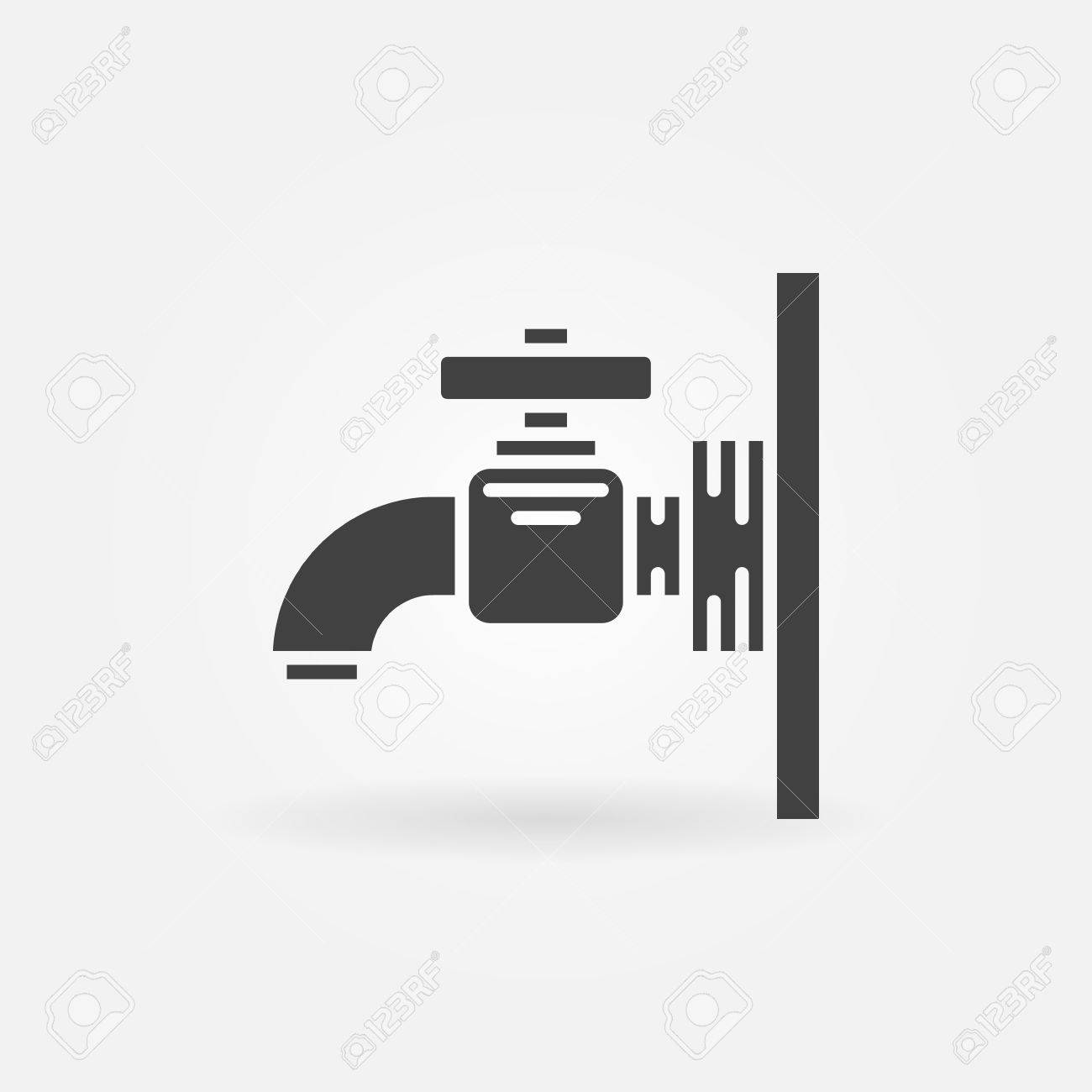 Water Tap Icon - Vector Dark Faucet Logo Or Sign Royalty Free ...