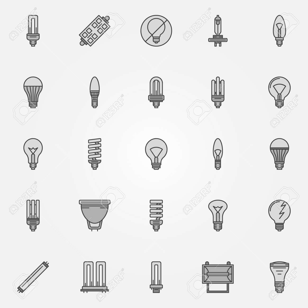 Monochrome Bulb Icons - Vector Collection Of Flat Dark Halogen ...
