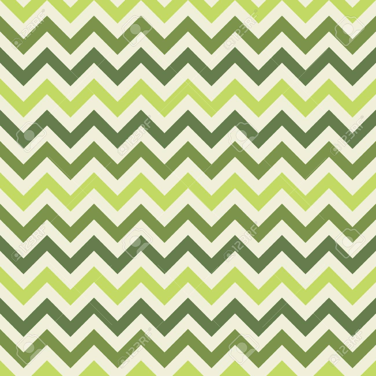 Green Retro Chevron Seamless Pattern - Vector Zig-zag Fabric ...
