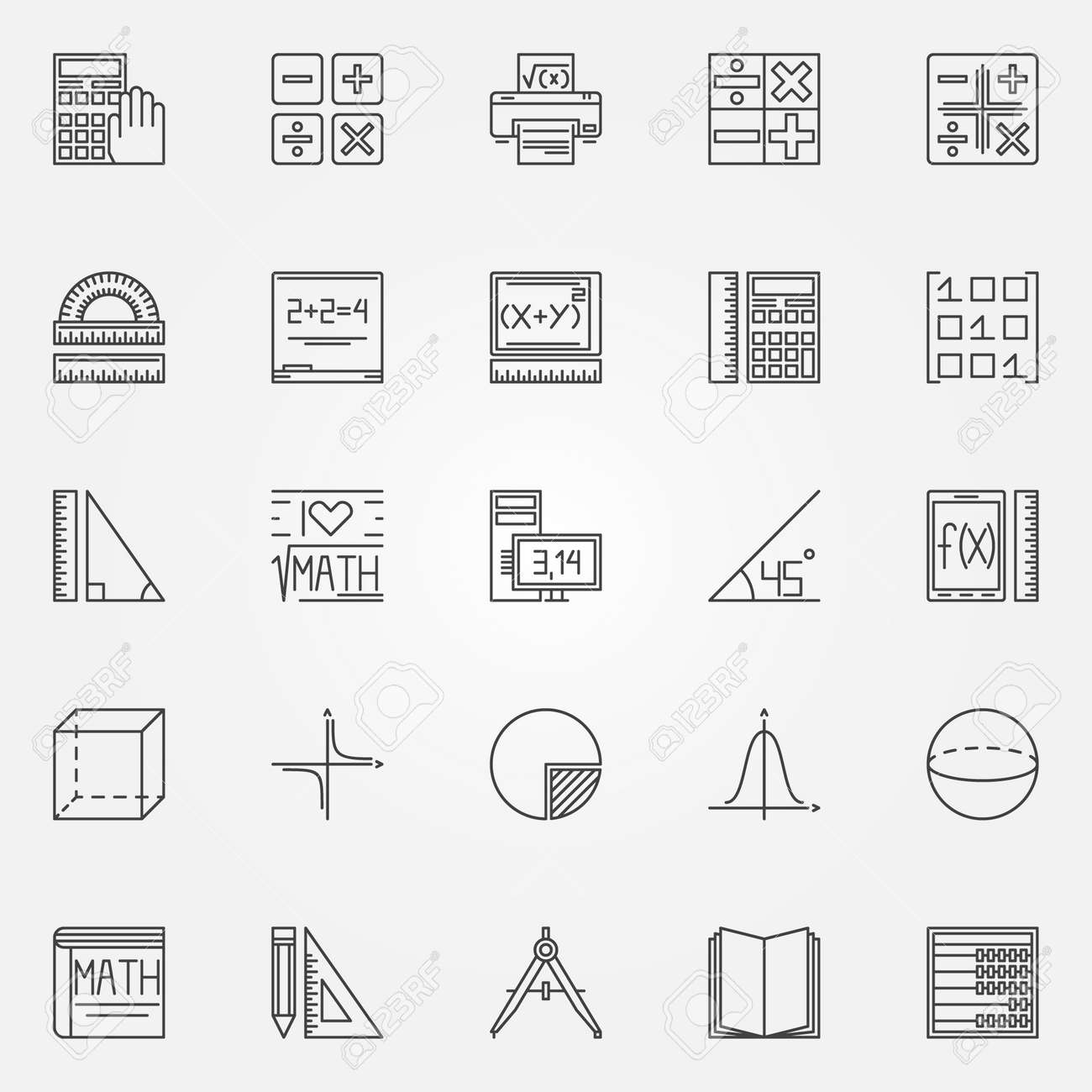 Math icons set vector geometry algebra and mathematics symbols math icons set vector geometry algebra and mathematics symbols or logo elements in thin biocorpaavc Choice Image