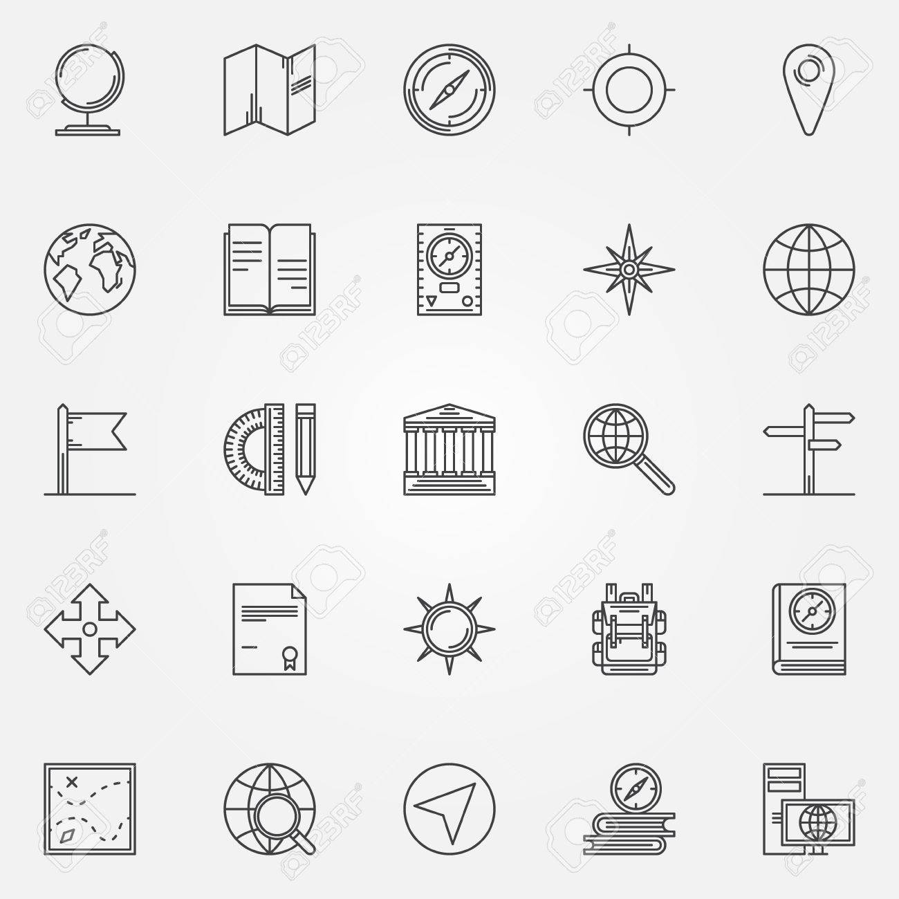 Geography Icons Set Vector Linear Education Cartography Symbols