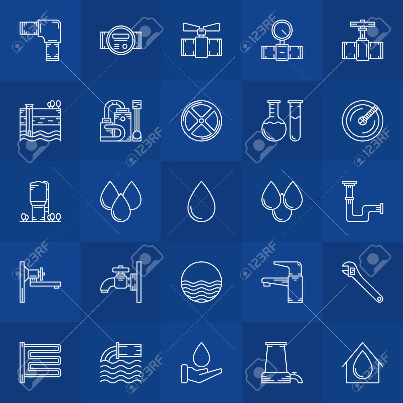 Water Supply Icons - Vector Linear Collection Of Bathroom Equipment ...