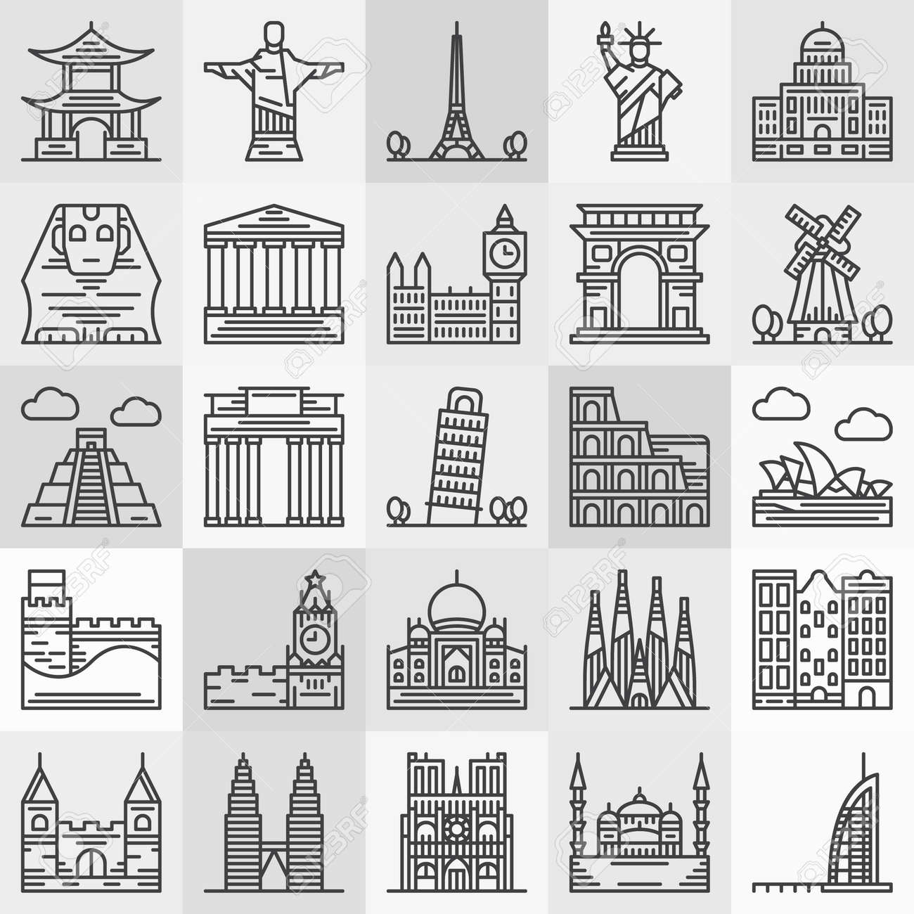 Popular Architecture travel landmarks icons - vector popular architecture and famous