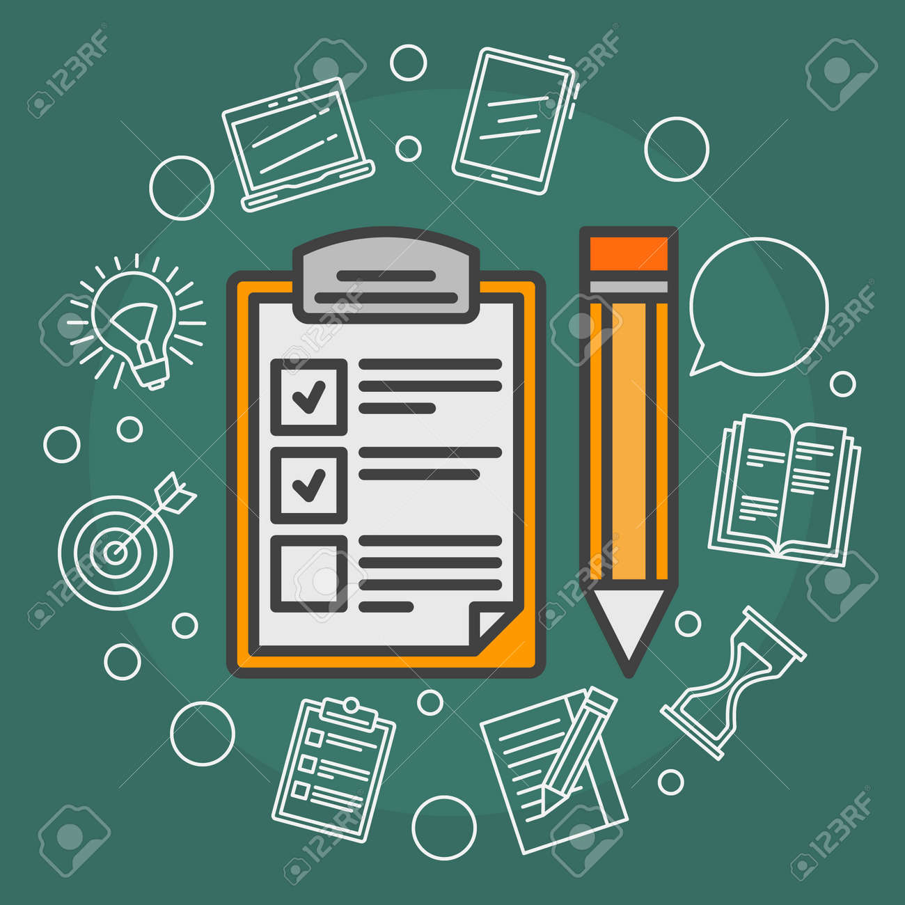To Do List vector illustration - flat reminder concept background with outline icons - 50641564