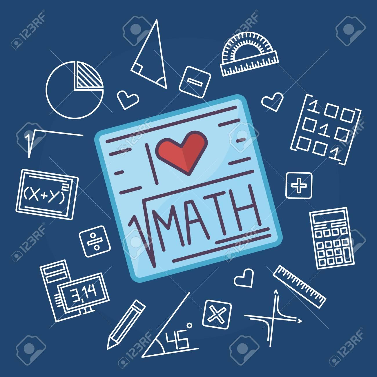 math education background design - vector mathematics blue flat