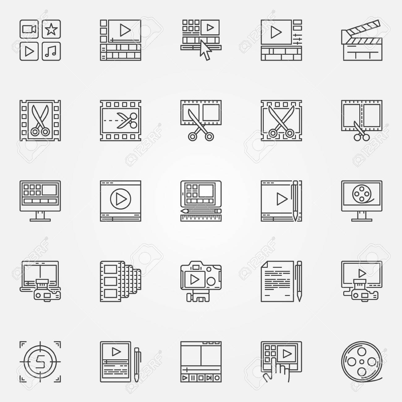 Video editor icons set - video editing signs in thin line style. Minimal movie symbols - 54939549