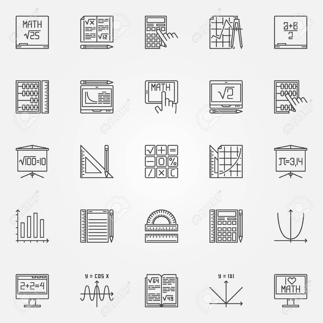Math Icons Set Vector Linear Mathematics Symbols Or Algebra